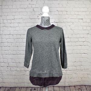 Loft  Layered look Grey Sweater SZ S